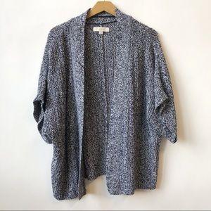 LOFT Open-front Black & White Knit Cardigan Small